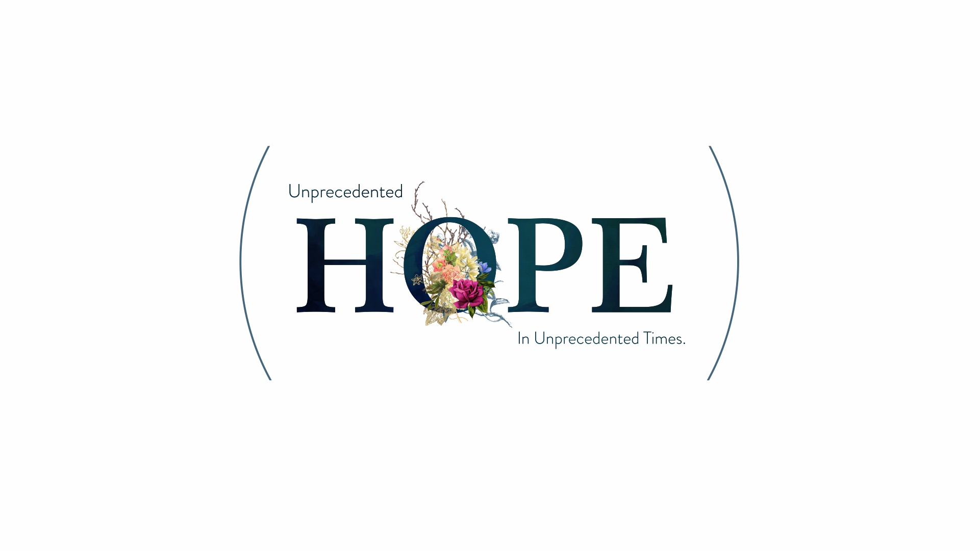A title with the word HOPE with flowers filling the letter O